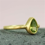 Gold Pear Peridot  Ring