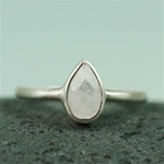 Silver Pear Rainbow Moonstone Ring