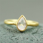 Gold Pear Rose Quartz Ring
