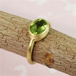 Gold Oval Peridot Ring