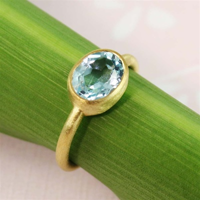Gold Oval Blue Topaz Ring
