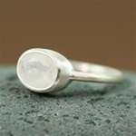 Silver Oval Rainbow Moonstone Ring