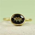 Gold Oval Smoky Quartz Ring