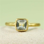 Gold Square Blue Topaz Ring