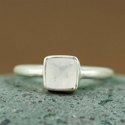 Silver Square Rainbow Moonstone Ring
