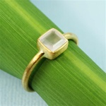 Gold Square Rose Quartz Ring