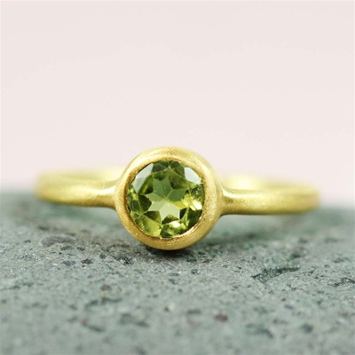 Gold Round Peridot Ring