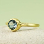 Gold Round Blue Topaz Ring