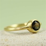 Gold Round Smoky Quartz Ring