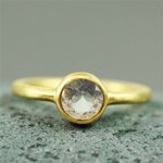 Gold Round Rose Quartz ring