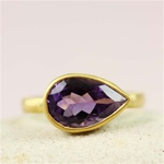 Gold Pear Amethyst ring