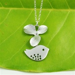 Silver Flower Bird Necklace