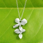 Silver Double Flower Necklace