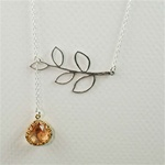 Silver Leaf Branch Pink Stone Necklace
