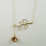 Gold Leaf Branch Pink Stone Necklace