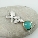 Silver Double Orchid Green Stone Necklace