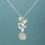 Silver Double Orchid Pink Stone Necklace