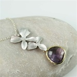 Silver Double Orchid Purple Stone Necklace