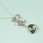 Silver Double Orchid Gray Stone Necklace