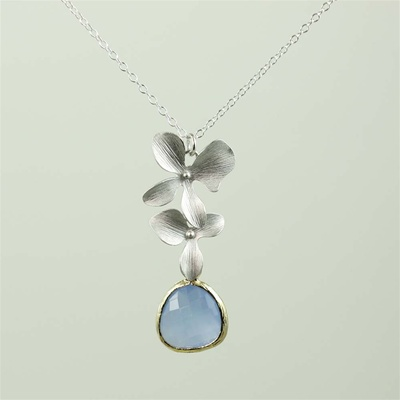 Silver Double Orchid Blue Stone Necklace