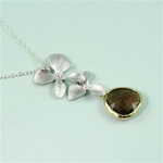 Silver Double Orchid Grown Stone Necklace