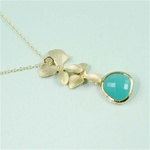 Gold Double Orchid Green Stone Necklace