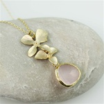 Gold Double Orchid Pink Stone Necklace