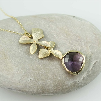 Gold Double Orchid Purple Stone Necklace