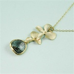 Gold Double Orchid Gray Stone Necklace