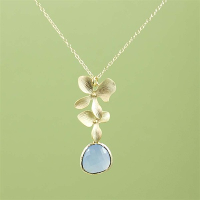 Gold Double Orchid Blue Stone Necklace