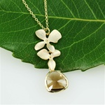 Gold Double Orchid Brwon Stone Necklace