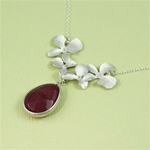 Silver Four Orchid Drop Ruby Necklace