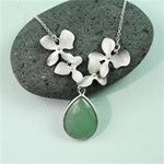 Silver Four Orchid Drop Aventurine Necklace