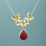 Gold Four Orchid Drop Ruby Necklace