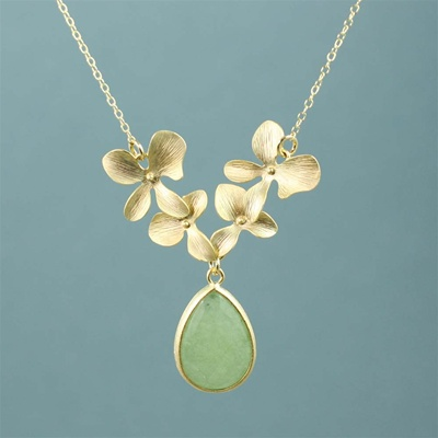 Gold Four Orchid Drop Aventurine Necklace
