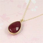 Gold Ruby Drop Necklace