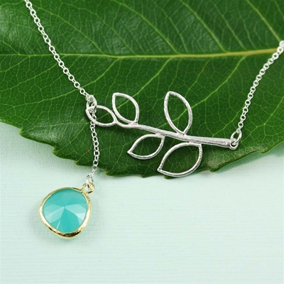 Silver Leaf Branch Green Stone Necklace