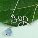 Silver Leaf Branch Blue Stone Necklace