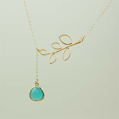Gold Leaf Branch Green Stone Necklace