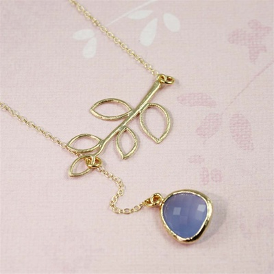 Gold Leaf Branch Blue Stone Necklace