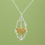 Silver Flower Branch and Bird Necklace