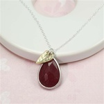 Silver Ruby Drop Gold Heart Charm Necklace