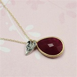 Gold Ruby Drop Silver Heart Charm Necklace