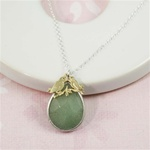 Silver Aventurine Drop Gold Lovebird Charm Necklace