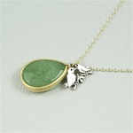 Gold Aventurine Drop Silver Lovebird Charm Necklace
