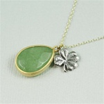 Gold Aventurine Drop Silver Clove Charm Necklace
