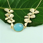 Gold Six Orchid Blue Stone Necklace