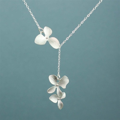 Silver Triple Orchid Dangling Necklace