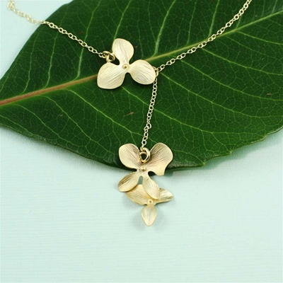 Gold Triple Orchid Dangling Necklace