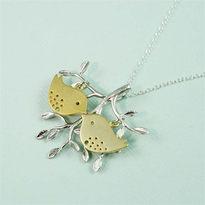 Silver Tree Gold Lovebirds Necklace